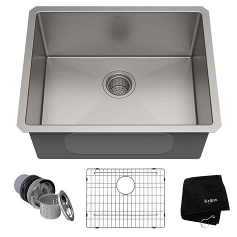 undermount stainless sinks kitchen sinks shop kraus handmade 18 in x 23 in single basin stainless 8737