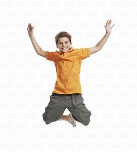 Quot39Excited Little Boy Jumping In Mid Air On White