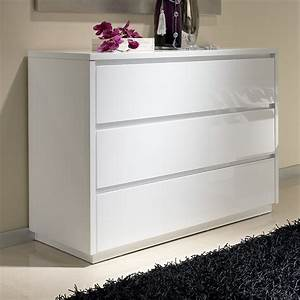 Commode à Tiroirs : commode 3 tiroirs design blanche tobia zd1 comod a d ~ Teatrodelosmanantiales.com Idées de Décoration