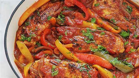 delicieux poulet aux poivrons  aux oignons  tomates