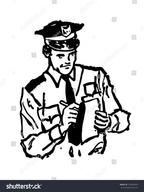 policeman with gun clipart black and white policeman writing ticket retro clipart illustration stock
