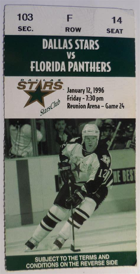 DALLAS STARS vs. Florida Panthers 1996 Ticket Stub NHL ...