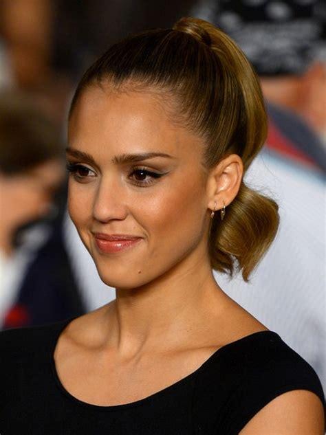 jessica alba hairstyles high tight ponytail popular