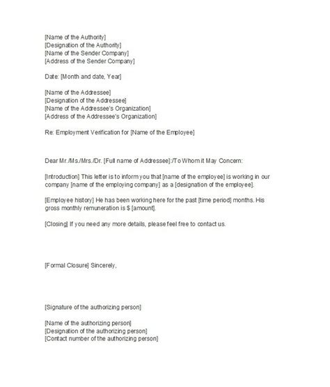 proof of employment letter letter of employment sle template 7120