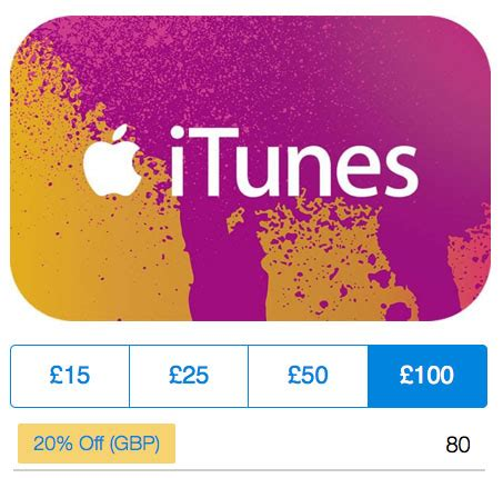 deal alert save 20 on itunes gift card u k only