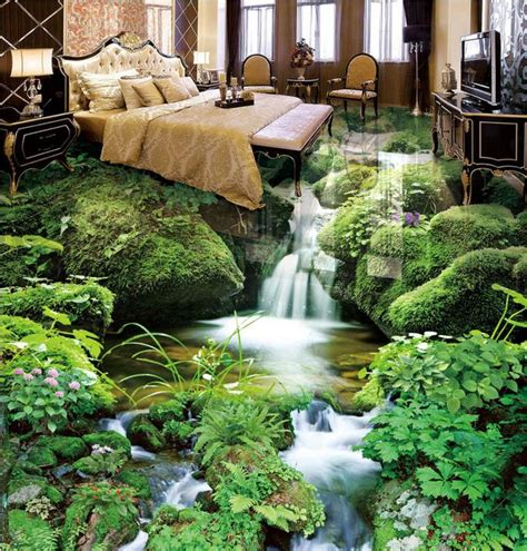 custom  floor small stream landscape wall papers home