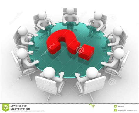 person  conference table  question mark stock