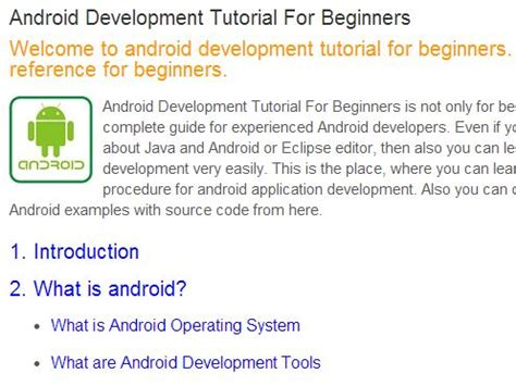 android programming tutorial android development tutorial collection for beginners