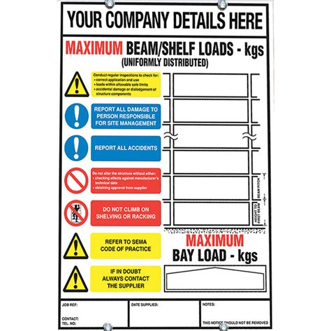 weight load notice signs  racking shelving ese direct