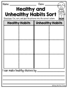 healthy habits and unhealthy habits sort worksheet activity tpt