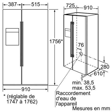 dimension frigo americain bosch refrigerateur americain premium kad62s51 kad 62 s 51 noir