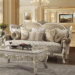Vintage, White, Sofa, Set, 2pcs, Carved, Wood, Traditional, Homey, Design, Hd