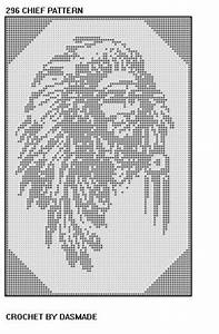 296 327 Three Indian Chief Filet Crochet Wallhanging