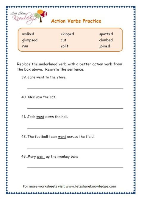 grade 3 grammar topic 2 action verbs worksheets free