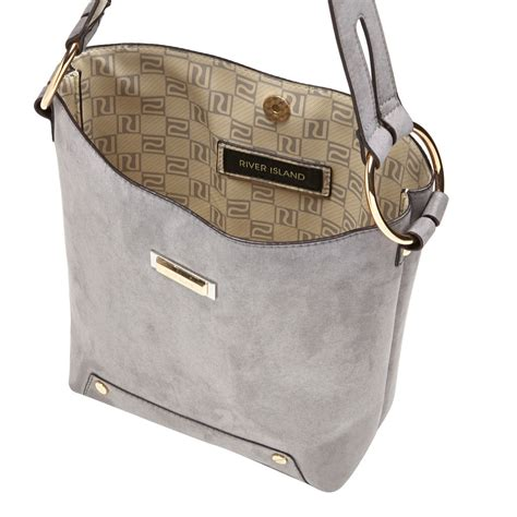 river island grey monogram lined bucket handbag  gray lyst