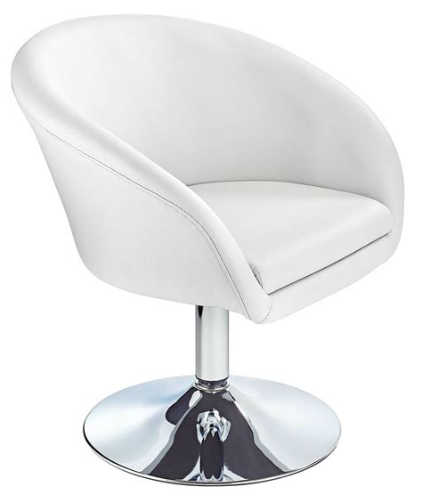 modern swivel chair supple faux leather seat white