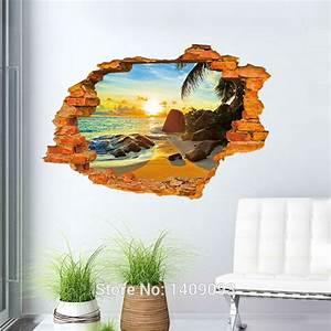 Vintage Brick Wall Decals 3d Sticker Beach Sea Beautiful ...