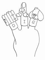 Coloring Puppet Finger sketch template