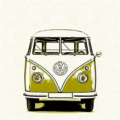 volkswagen old van drawing vw van graphic artwork yellow painting by edward fielding