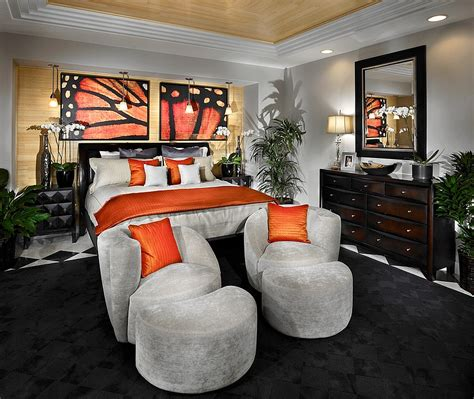 Decorating Ideas For Orange Bedroom by Orange And Black Interiors Living Rooms Bedrooms And