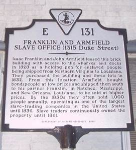 Franklin and Armfield Slave Office Historical Marker
