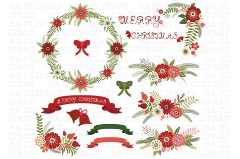christmas floral clip art pack kleurenpalet kerst