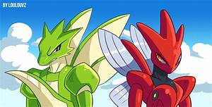 Scyther and Scizor by LoulouVZ on DeviantArt
