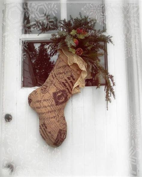 French Burlap Christmas Stocking