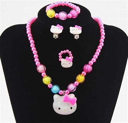 Kitty Hello Earrings Clip Necklace Pink Jewelry