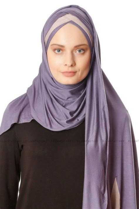 duru dark purple stone grey jersey hijab hijab