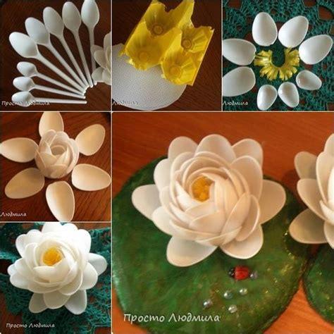 wonderful diy waterlily flowers   plastic spoons