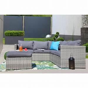 Salon De Jardin Arrondi : mobilier de jardin en r sine tress e design gris beige ~ Nature-et-papiers.com Idées de Décoration