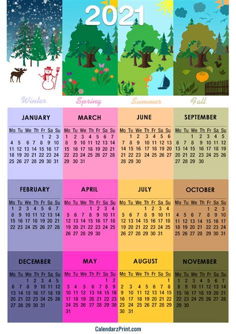 calendar  paper size printable   seasons
