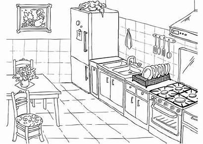 Kleurplaat Keuken Afbeelding Grote