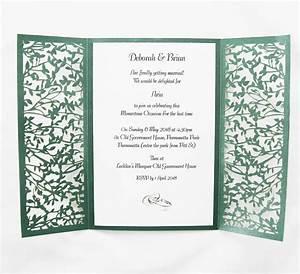 green gatefold lasercut invitation red rose invitations With gatefold wedding invitations blank