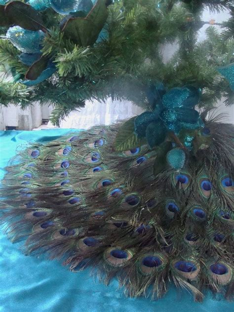 dual use 48 quot peacock feather christmas tree skirt and