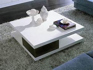 Table Basse Carrée Blanc Laqué : table basse carr e moli en mdf laqu noir et blanc 56777 ~ Teatrodelosmanantiales.com Idées de Décoration