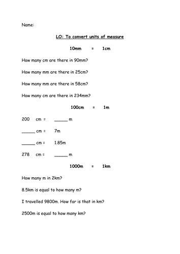 converting units  measure  tp teaching