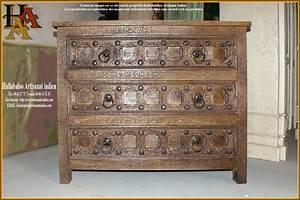 Commode indienne for Wonderful meuble indien maison du monde 5 commode indienne sculptee en manguier massif blanche l 100