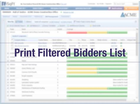Print Filtered Bidders List