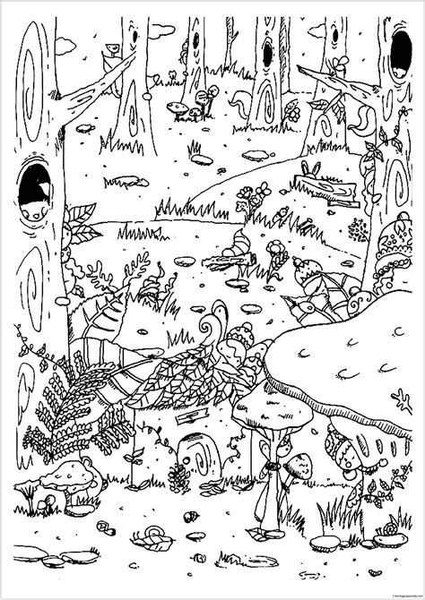 forest coloring pages enchanted forest coloring page free coloring pages