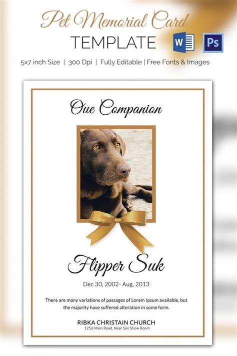 pet memorial cards word psd ai  premium