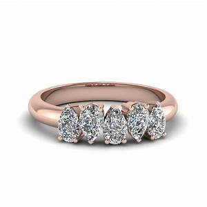 5 stone pear shaped diamond band in 14k rose gold for Wedding bands for pear shaped rings