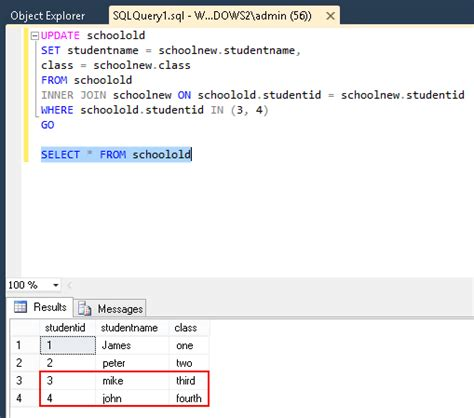 update sql join two tables update from select using sql server stack overflow
