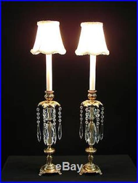Crystal Candlestick Buffet Lamps by Vintage Pair French Brass Crystal Candlestick Vanity
