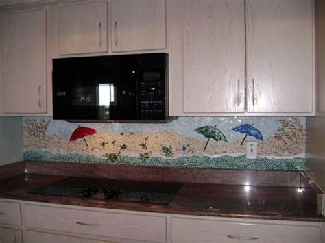 "Mosaic Kitchen Backsplash ""Beach Scene""   Designer Glass"