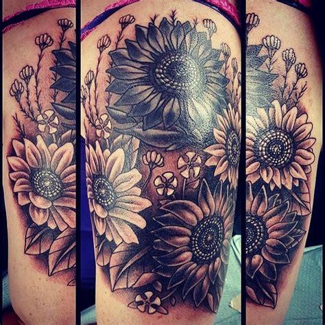 sunflower tattoo sleeve ideas  pinterest