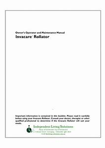 Invacare Rollator Owners Operator And Maintenance Manual