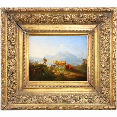 Oil Painting German Antique 19th Century Cattle