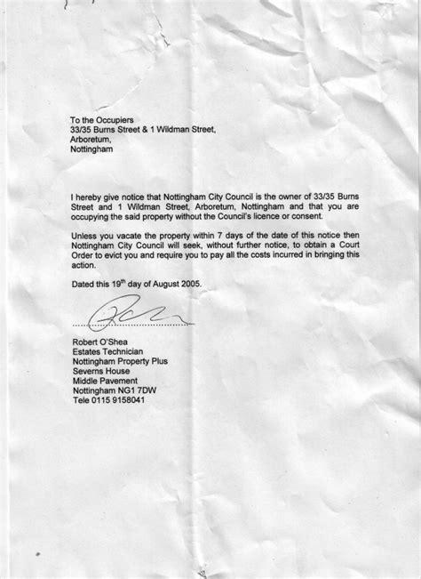 nottinghamshire council serve eviction notice